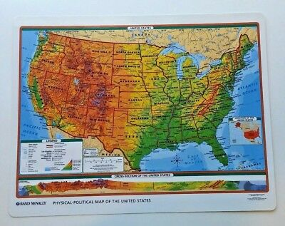 US & World Wall Desk Map Geography History Elevation Grade 4 5 6 7 8 9 10 11 12+