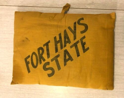 Vintage Fort Hays State Seat Cushion, Gold and Black Cloth