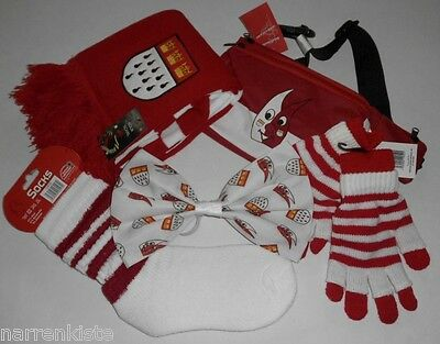 Rot Weiß Kleid Kostüm (Köln Hut Kostüm Kölnkostüm Schal Rot Weiß Handschuhe Stulpen Schmuck Kleid Kappe)