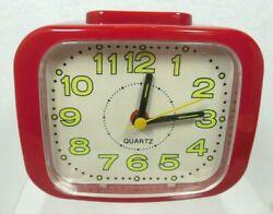 Vintage Retro Alarm Clock Red Battery Operated Glow In The Dark Yellow #s Quartz