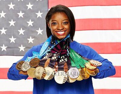 Simone Biles Usa Gymnastics With Her World Medals 8X10 Photo