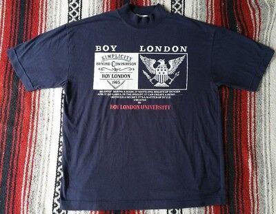 Authentic Vintage 90s BOY LONDON Fun Wear 2-Sided Blue Fashion T-Shirt L Punk