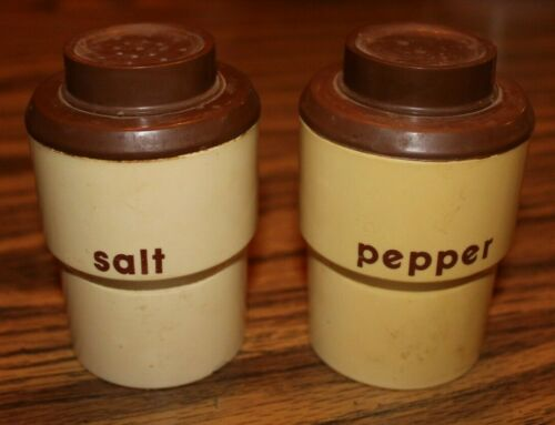 STERILITE Salt & Pepper Shakers - Brown/Tan 1960