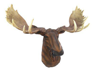 North American Moose Head Wall Mount Resin Trophy Faux Hunt Cabin Rustic Antlers (Moose Trophy Head Mount)