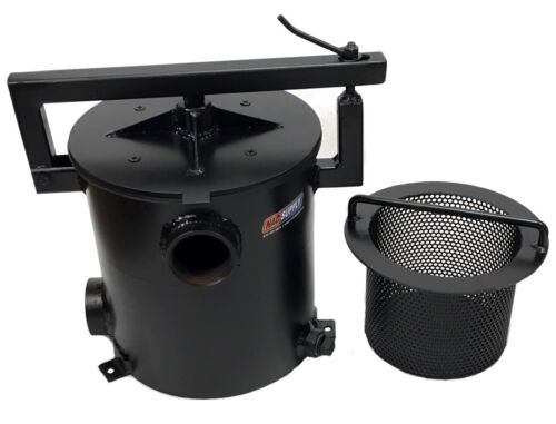 """2 Gal Steel Sealcoat Filter Pot Assembly, 2"""" Plumbed, Strainer Basket, Left"""