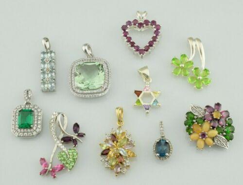 Lot of 10 - Sterling Silver Pendants Multi Gemstone Various Sizes