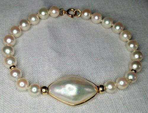Excellent condition! Jeweler Made Cultured Pearl Bracelet w/ Mabe Pearl Station