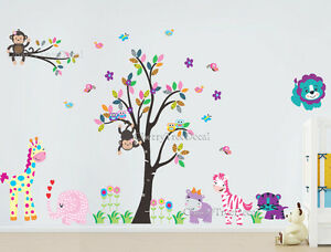 Jungle Tree Safari Animals Wall Stickers Art Decal Children Kids Nursery Decor