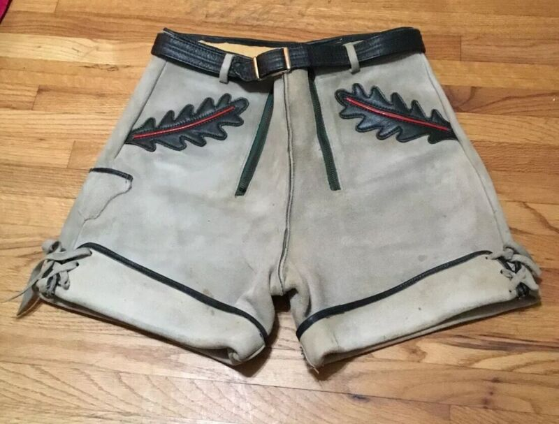 Vintage Men Lederhosen German Suede Leather Zipper Front Belted Shorts
