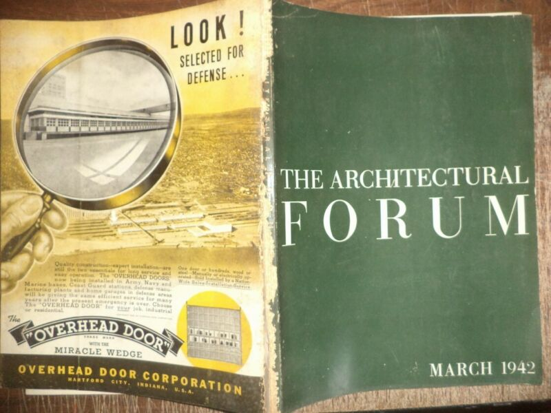 VINTAGE MARCH 1942 ARCHITECTURAL FORUM HOME BUILDINGS MODERN DESIGNS ART HISTORY