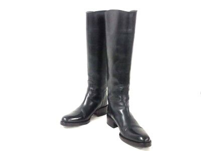 Auth SARTORE SR2200 Navy Leather Boots US#5  Women's
