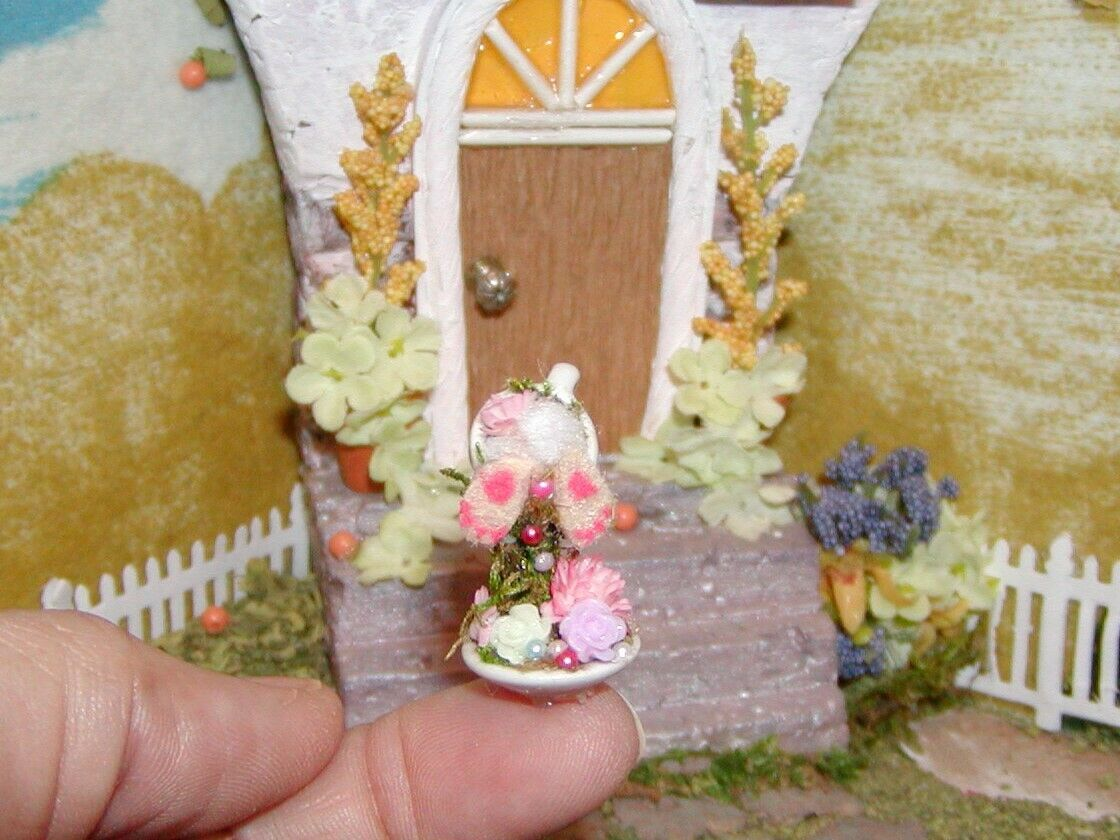 Dollhouse Miniatures Christmas Tiny Rabbit In Floating Cup - $19.99
