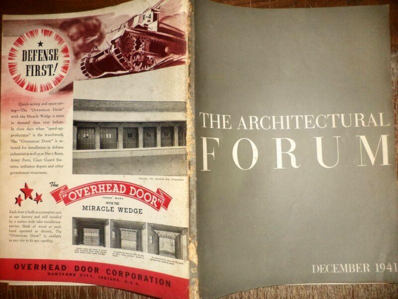 VINTAGE DECEMBER 1941 ARCHITECTURAL FORUM HOME BUILDINGS MODERN DESIGNS HISTORY