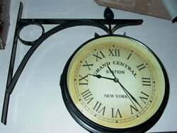Double Sided Wall Clock Meta Train Station Style Round Scroll Wall Side Mount