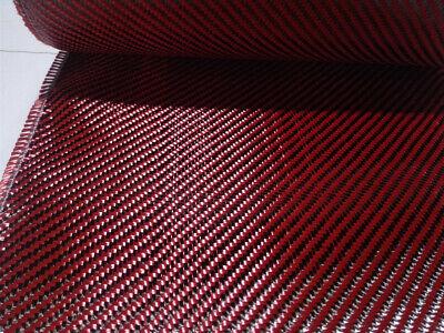 Red Aramid Carbon Fiber Mixed Fabric Twill Cloth Width 2050cm X 1yd 200gsm
