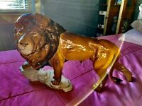 Laying Lion Large Statue Bronze Finish Sculpture 24057