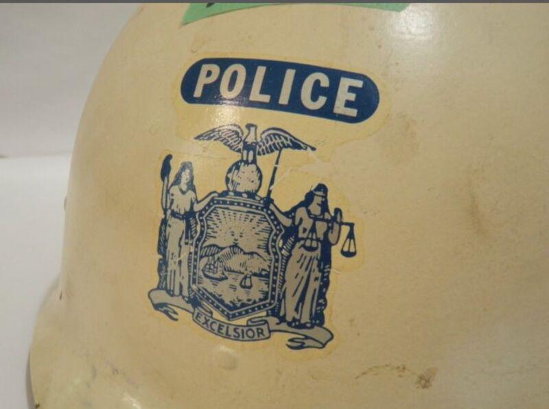 Vintage auxiliary police helmet Mt. Pleasant