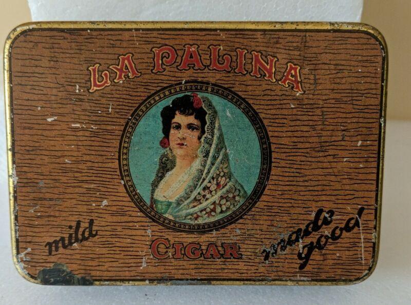 VINTAGE LA PALINA CIGAR TIN BOX SENATORS HINGE LID Congress Cigar Company Philad