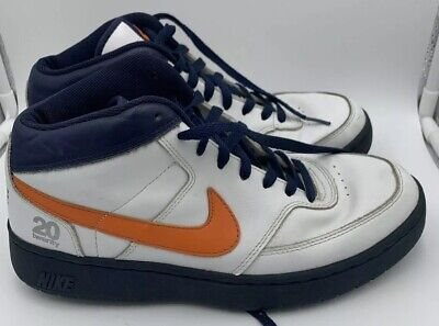 Nike Twenty 20 Men's White Orange Blue Leather High Top Basketball Shoes Sz 8.5