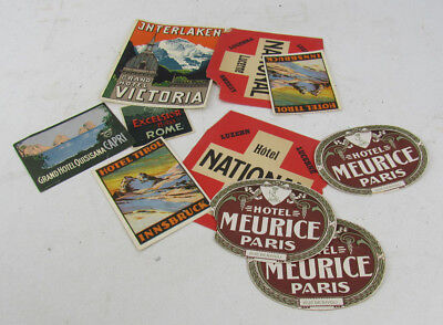 10 Vintage Hotel Luggage Labels Tirol National Meurice National Grand Victoria