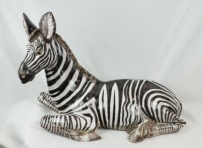 """Used, ITALY ART POTTERY CERAMIC WILD ZEBRA STATUE 27"""" LONG for sale  Camp Hill"""