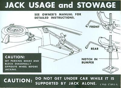 1969 Ford Thunderbird Jack Instruction Decal