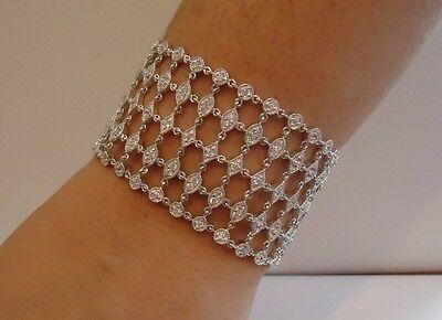 925 STERLING SILVER LADIES WIDE DESIGNER BRACELET W/ 5 CTS DIAMOND/ 7 ''