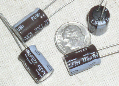 4 New Nichicon 220uf35v 220 Mfd 35 V Radial Electrolytic Capacitor Cap 105 Usa