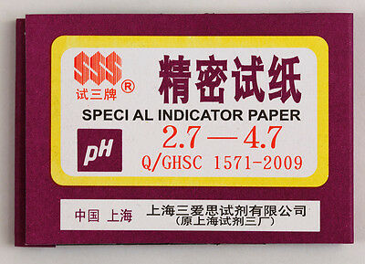 1 Pack 80 Strips Of Ph 2.7-4.7 Special Indicator Paper Test Lab Water Soil