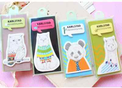 Lot 4pcs Kawaii Cute Animal Message Memo Pad Stationery Sticky Notes Alpaca Cat