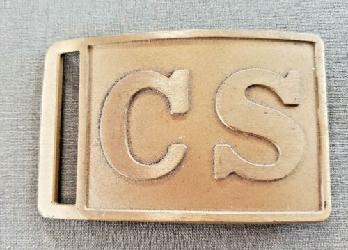 """Confederate States """"CS"""" Brass Belt Buckle, likely a reproduction"""