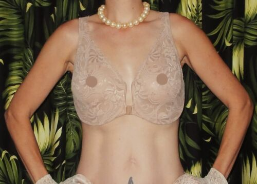 Vintage Nude Glamorise Push Up Bra 38 DD cleavage sheer lace pinup retro risque