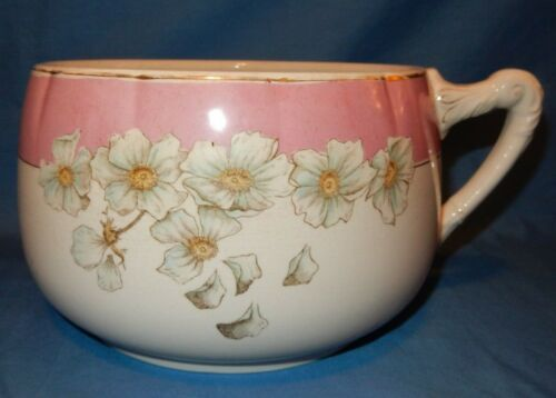 Vintage OTTA. Pink White Chamber Pot Apple Blossoms Gold trim circa late 1800