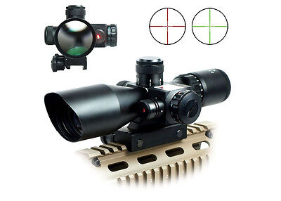 New Style 2.5-10x40 Rifle Scope Red Laser Dual illuminated Mil-dot w/ Rail Mount