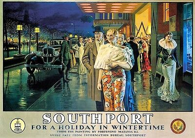 Vintage Railway Advertising  rail travel poster  A4 RE PRINT Southport in Winter