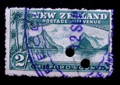 New Zealand-1898-2 Shilling Milford Sound/Mitre Peak Pictorial-Used
