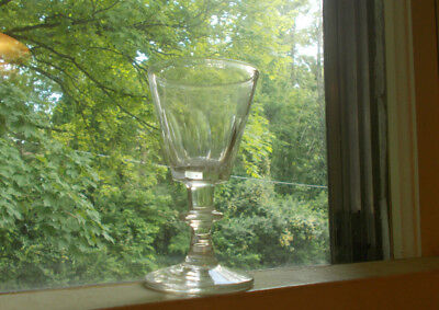 1820s PONTILED FLINT GLASS EARLY CORDIAL WINE GLASS 9 CUT PANELS & APPLIED BASE