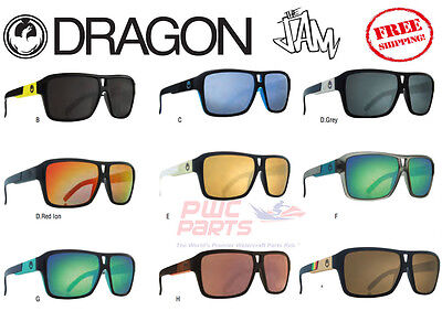 DRAGON The JAM Sunglasses Rasta Sky Blue Matte Black White Gold ALL (White Dragon Sunglasses)