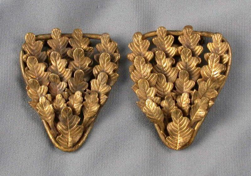 Pair Art Nouveau Brass Leaves Dress Clips