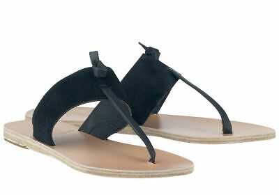 ANCIENT GREEK SANDALS 'Melina' Black Pony Hair Thong Sandal SIZE 8
