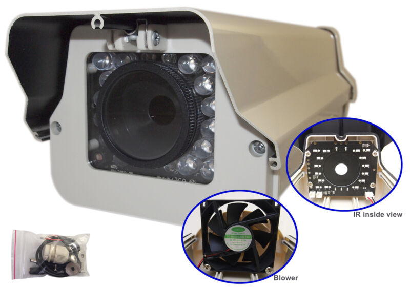 Outdoor Security Camera aluminum Housing w/ Infrared blower / cooler