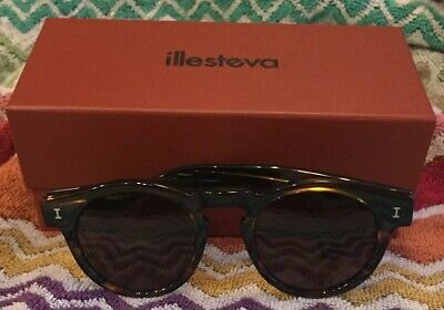Illesteva Leonard Sunglasses Round NEW In Box w Hard Case