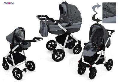 Kinderwagen 3in1 Buggy Babyschale Pram Pushchair Poussette Extras Sonnenschirm !
