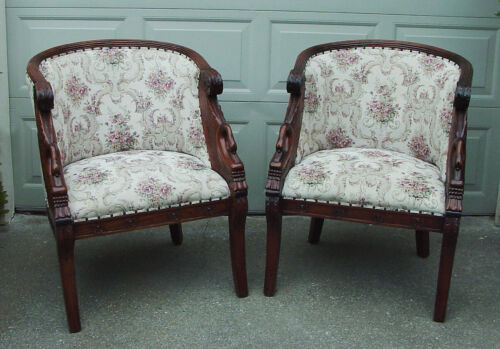 "Pair of 1950s Vintage Neoclassical Design Swan ""Tub"" Chairs"