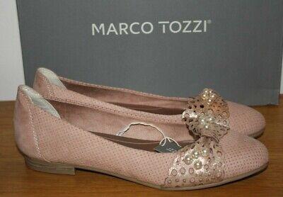Marco Tozzi Womens Rose Pink Velour Pearl Flat Shoes UK 4 Eur 37 US 6 BNIB
