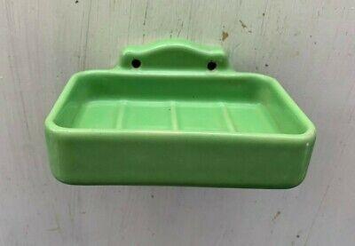 Antique Jadeite Green Porcelain Soap Dish Holder Old Wall Ceramic Vtg 181-20J