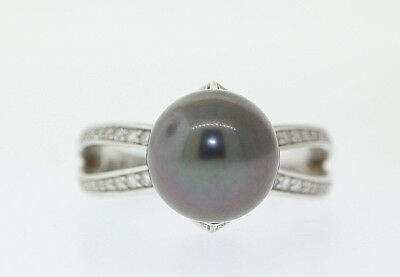 MIKIMOTO 18k White Gold 10.3mm South Sea Tahitian Black Pearl & Diamond Ring