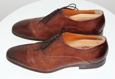 SANTONI BURNISHED LEATHER OXFORDS Mens 10 Brown Lace-Up Shoes $500 Made in Italy