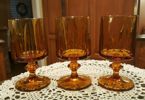 Vintage Mid Century Amber Nouveau by Colony Wine Water Glasses, 10 oz - set of 3
