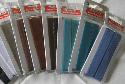 15mm SEAM BINDING / TAPE  polyester 2.5 metre length , various colours